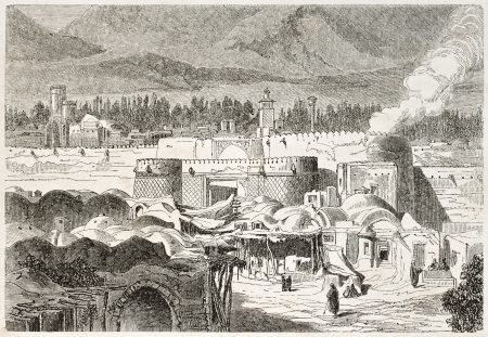 asian ancestry: Shah Abdul Aziz gate old illustration, Persia. Created by Laurens, published on Le Tour du Monde, Paris, 1860