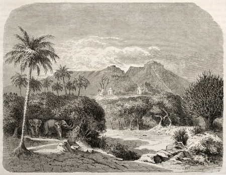 african ancestry: Shilluk region near Sabot river, old view, Southern Sudan. Created by Lancelot after Russegger, published on Le Tour du Monde, Paris, 1860  Editorial
