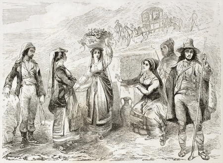 Sicilian costumes old illustration. Created by Rouargue, published on Le Tour du Monde, Paris, 1860