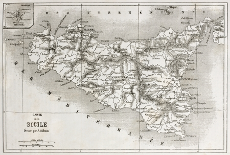 Sicily old map with Stroboli isle insert map. Created by Vullemin and Erhard, published on Le Tour du Monde, Paris, 1860