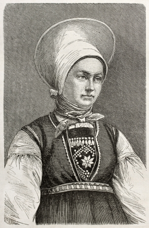 Woman of Sogn, Norway, old engraved portrait. Created by Pelcoq after photo of unknown author, published on Le Tour du Monde, Paris, 1860   Stock Photo - 15080353