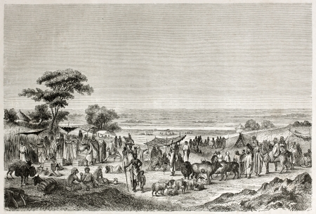 caliphate: Sokoto marketplace old view, Nigeria. Created by Hadamard after Barth, published on Le Tour du Monde, Paris, 1860