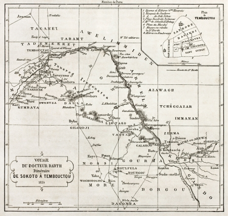 mali: Central African itinerary from Sokoto to Timbuktu, old map with Timbuktu insert plan. Designed by Vuellemin after Petermann, engraved by Erhard. Published on Le Tour du Monde, Paris, 1860
