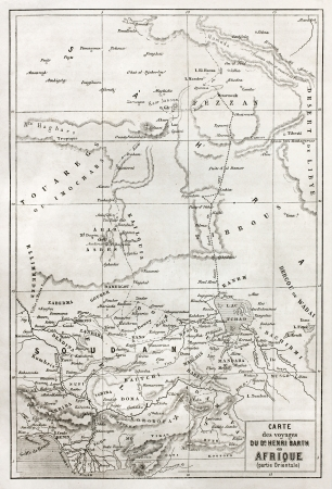 african ancestry: Southern Sahara and central Africa old map. Created by Erhard, published on Le Tour du Monde, Paris, 1860