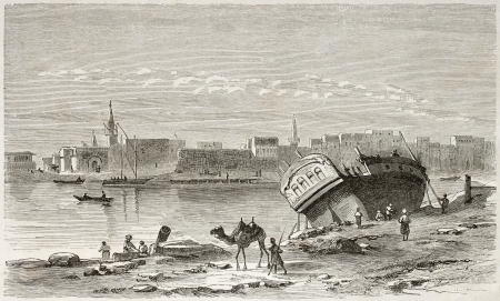 african ancestry: Suez port old view. Created by Girardet after Lejean, published on Le Tour du Monde, Paris, 1860 Editorial