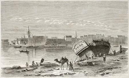 Suez port old view. Created by Girardet after Lejean, published on Le Tour du Monde, Paris, 1860 Stock Photo - 15080283