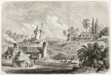 Sugar factory in Guadeloupe, old illustration. Created by De Berard, published on Le Tour du Monde, Paris, 1860