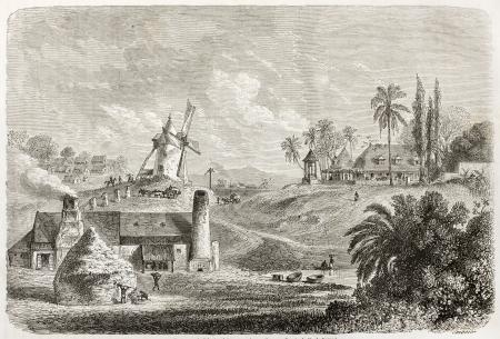 antique factory: Sugar factory in Guadeloupe, old illustration. Created by De Berard, published on Le Tour du Monde, Paris, 1860