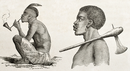 ancestry: Tanganyika lake western coast dwellers. Created by Burton, published on  Le Tour du Monde, Paris, 1860