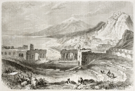 taormina: Taormina Theatre old view with Etna volcano in background, Sicily, Italy. Created by Rouargue, published on Le Tour du Monde, Paris, 1860