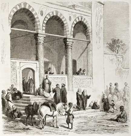 mosque illustration: Mosque in Thessaloniki, old view. Created by Girardet after Proust, published on Le Tour du Monde, Paris, 1860 Editorial