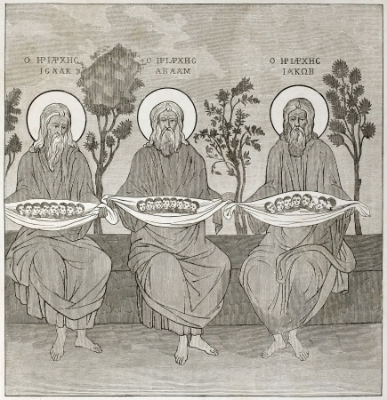 aureole: The Three Patriarches, painting in Monastery of Great Lavra refectory, Mount Athos, Greece. Created by Therond after photo by unknown author, published on Le Tour du Monde, Paris, 1860
