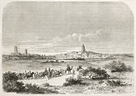 Arrival in Timbuktu, old illustration. Created by Lancelot after Barth, published on Le Tour du Monde, Paris, 1860