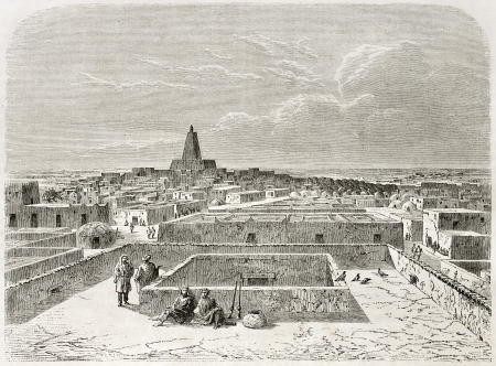 published: Timbuktu, old view. Created by Lancelot after Barth, published on Le Tour du Monde, Paris, 1860