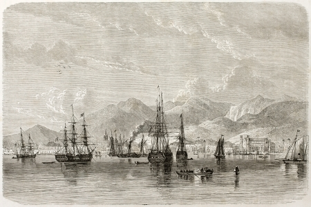Port of Spain old view, Trinidad, Caribbean sea. Created by De Berard, published on Le Tour du Monde, Paris, 1860