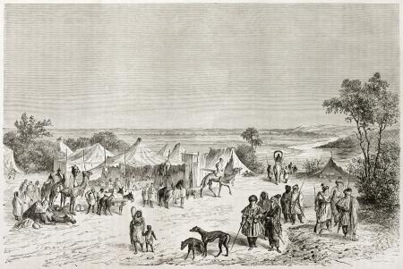 Tuareg encampment old illustration. Created by Lancelot after Barth, published on Le Tour du Monde, Paris, 1860