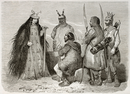 mongolia: Tungusic sorceress and other people old illustration. Created by Adam after Rechberg, published on Le Tour du Monde, Paris, 1860