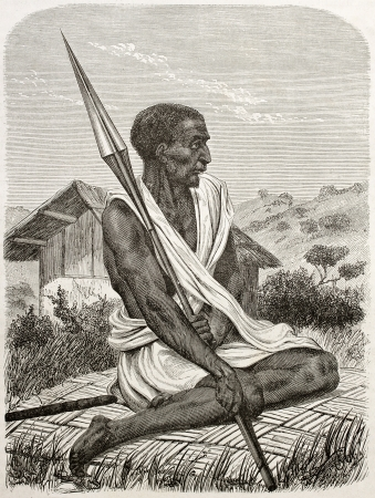 ugandan: Ugandan man old engraved portrait. Created by Boulanger after Burton, published on Le Tour du Monde, Paris, 1860