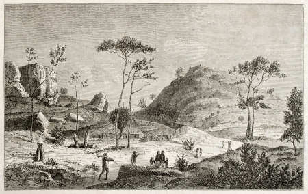 african ancestry: Unyamwezi region old view, Tanzania. Created by Lavieille after Burton, published on Le Tour du Monde, Paris, 1860