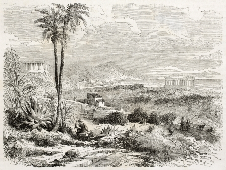 Valle dei Templi old view, Sicily, Italy. Created by Rouargue, published on Le Tour du Monde, Paris, 1860