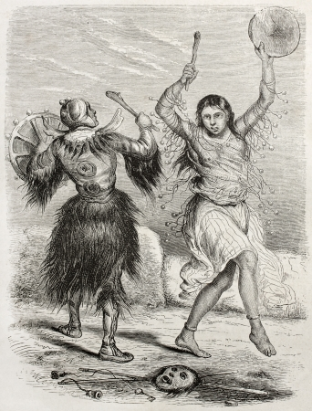 priestess: Yacutsk shamans old illustration. Created by Adam after De Rechberg, published on Le Tour du Monde, Paris, 1860