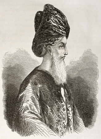 Zanzibar Imam old engraved portrait. Created by Berard, published on Le Tour du Monde, Paris, 1860 Stock Photo - 15080268