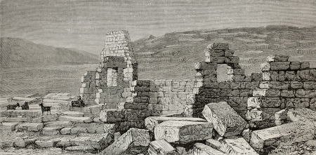 anatolia: Old illustration of theater and stadium ruins in Aizani, antique Phrygian city. Turkey. Created by Gaiaud, published on Le Tour du Monde, Paris, 1864