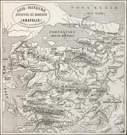 constantinople: Old map of Anatolia. Created by Erhard and Bonaparte, published on Le Tour du Monde, Paris, 1864