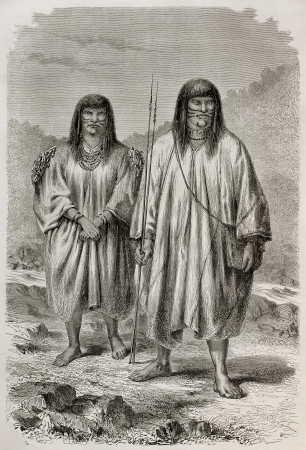 native american: Old illustration of Antis natives, Peruvian indigenous. Created by Riou, published on Le Tour du Monde, Paris, 1864