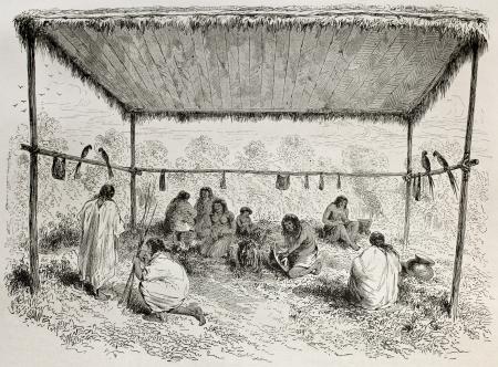 Antigua ilustración de indios Antis, los pueblos indígenas del Perú, protegido por el dosel de madera. Creado por Riou, publicado en Le Tour du Monde, París, 1864 Foto de archivo - 15156001