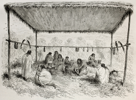 Old illustration of Antis natives, Peruvian indigenous, sheltered by wooden canopy. Created by Riou, published on Le Tour du Monde, Paris, 1864