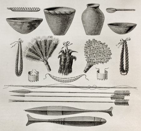 armlet: Old illustration of  natives Antis pottery, weapons and ornaments, Perù. Created by Riou, published on Le Tour du Monde, Paris, 1864