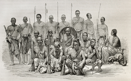 african warriors: Old illustration of captains Speke and Grant escort during African exploration. Created by unidentified author after photo of Royer, published on Le Tour du Monde, Paris, 1864 Editorial