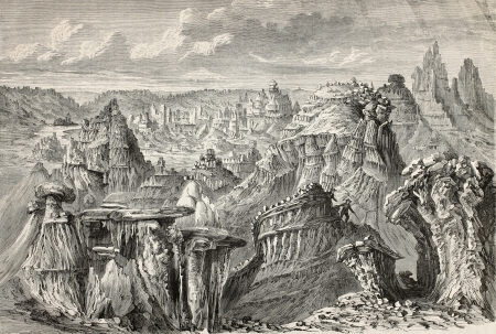 mountainscape: Old illustration of American badlands. Created by Lancelot and Nicolay, after sketch of De Girardin, published on Le Tour du Monde, Paris, 1864 Editorial