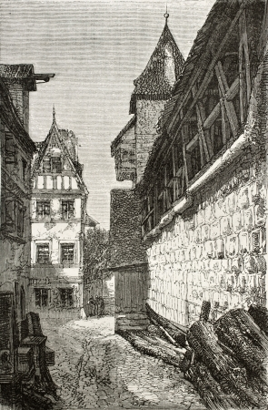 nuremberg: Old illustration of alley next to the bastion in Nuremberg casle (Burg), Germany. Created by Th�rond, published on Le Tour du Monde, Paris, 1864