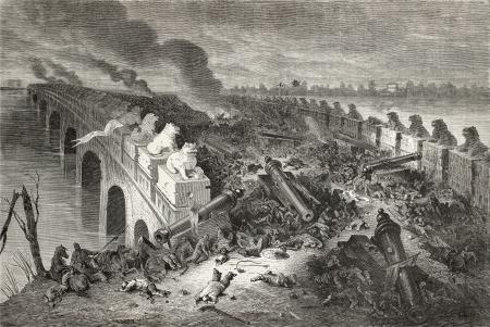 古いイラスト 8 マイル ブリッジ (八里橋) の英仏軍と中国の間の戦いの後第 2 あへん戦争の間に。Vaumort 社ツアー ルモンド デュ パリで 1864年のスケ