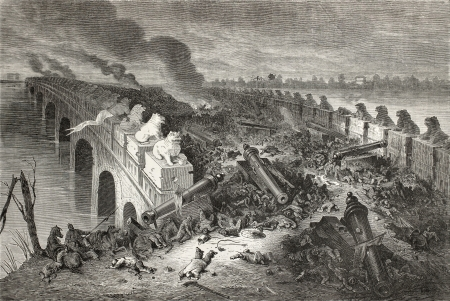 Old illustration of Eight Mile Bridge (Baliqiao) after battle between Anglo-French forces and China during second Opium war. By Bayrad after sketch of Vaumort, publ. on Le Tour du Monde, Paris, 1864.