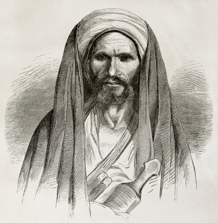 cloak and dagger: Old engraved portrait of a Bedouin. Created by Pottin after sketch of Bida, published on Le Tour du Monde, Paris, 1864