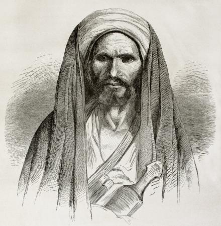 cloak and dagger: Old engraved portrait of a Bedouin. Created by Pottin after sketch of Bida, published on Le Tour du Monde, Paris, 1864