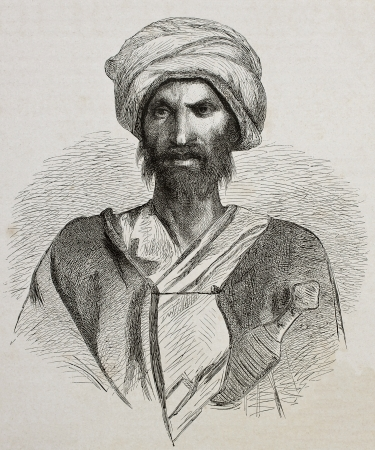 caftan: Antique illustration of a Bedouin from Sinai peninsula. Created by Pottin and Bida, published on Le Tour du Monde, Paris, 1864 Editorial