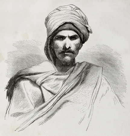 turban: Old engraved portrait of a Bedouin. Created by Pottin after sketch of Bida, published on Le Tour du Monde, Paris, 1864