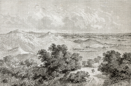 Old view of Beijing on the horizon from south-east. Created by Lancelot after drawing of unidentified author, published on Le Tour du Monde, Paris, 1864