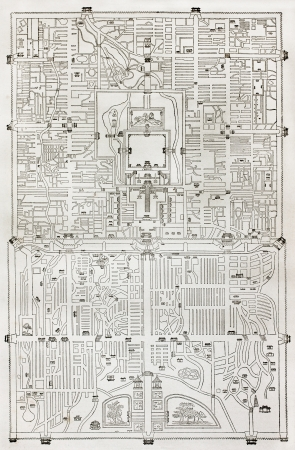 Old plan of Beijing. Engraved by Erhard and Bonaparte, after antique Chines relief plan. Published on Le Tour du Monde, Paris, 1864