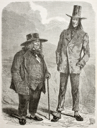 tall man: Old illustration of eccentric slim and fat men in southern America. Created by Riou and Pannemaker, published on Le Tour du Monde, Paris, 1864