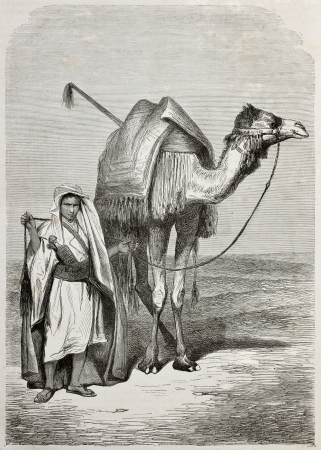Old illustration of a boy holding camels reins. Created by Pottin, published on Le Tour du Monde, Paris, 1864