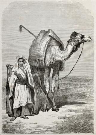 ethnology: Old illustration of a boy holding camels reins. Created by Pottin, published on Le Tour du Monde, Paris, 1864 Editorial