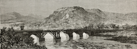 justinian: Old view of Antique Roman bridge over Sakaria (Sangarius) river, Bithynia region, Turkey. Created by Gaiaud, published on Le Tour du Monde, Paris, 1864