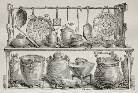 Old illustration of bronze pottery and kitchen utensils found in Pompeii. Created by Catenacci, published on Le Tour du Monde, Paris, 1864 Editorial