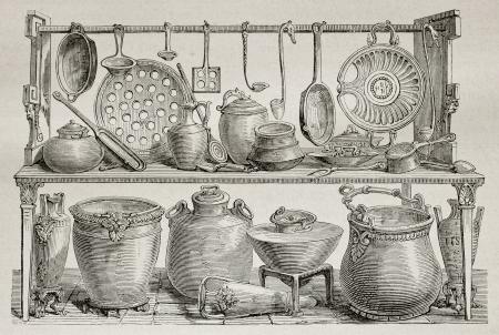 ustensiles de cuisine: Vieille illustration d'ustensiles de poterie et cuisine en bronze trouv�s � Pomp�i. Cr�� par Catenacci, publi� sur Le Tour du Monde, Paris, 1864