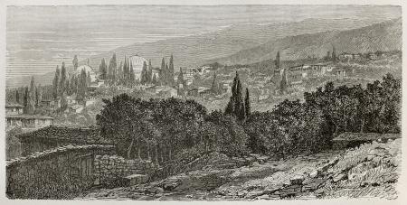 Ancien point de vue de Bursa et de la mosquée du Sultan Beyezid. Région de Marmara, en Turquie. Créé par Gaiaud, publié sur Le Tour du Monde, Paris, 1864 Éditoriale
